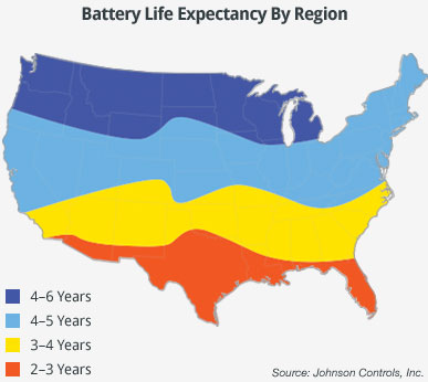 Battery Life Expectancy By Region Map
